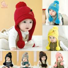 Cute Crochet Knitted Baby Hat Christmas Baby Ball Caps Knitted Winter Warm Hat Kids Festival Gift Hats For Children Girls Boys(China)