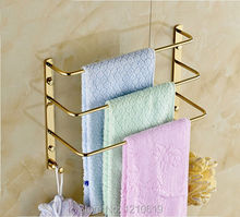 Three Tiers Solid Brass Golden Finish Bathroom Towel Shelf Bath Towel Bars Rack W/ Hooks Wall Mounted