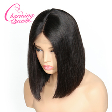 Charming Queen Silk Base Lace Front Human Hair Wigs For Black Women Remy Hair Straight Short Bob Silk Top Wigs With Baby Hair(China)