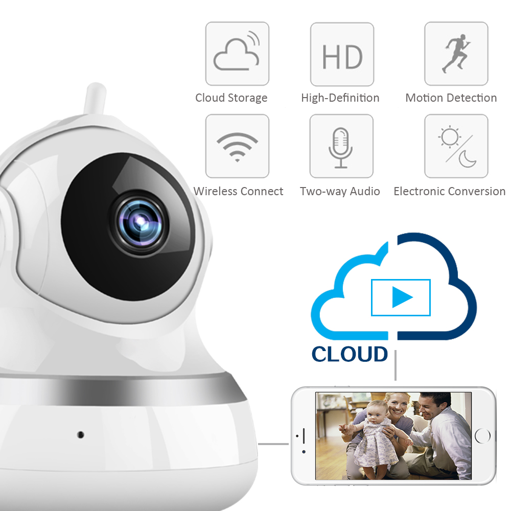 YSA Wireless IP Camera 1080P Two Way Audio Cloud Storage Wifi Baby Monitor Home Surveillance Security Network CCTV Camera<br>