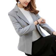 Kobeinc Fashion Blazer For Women Spring Summer 2017 New Fashion Long Sleeves Notched Collar Slim-Fit Casual Business Suit Jacket