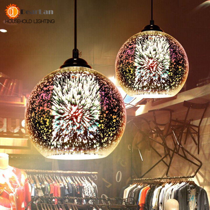 Modern 3D Plated Colorful Lamplight Glass Pendant Lamp Foyer Mall Lamp DIA:15/20/30/35/40CM E27 110-240V Free Shipping<br><br>Aliexpress