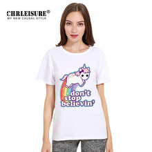 Chrleisure Rainbow Unicorn T Shirt Plus Size Women Fashion Cartoon Tops Tee New Summer Casual Horse Unicornio Print T-shirt