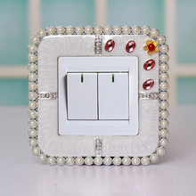 European creative resin Pearl inlay border switch stickers Korea home decorations wall socket sets decorative