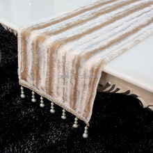 Free shipping Table cloth table runner luxury paillette bed flag decorating brief stripe hanging beads table runner