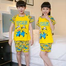 Factory wholesale Summer 2017 Children boys girls kids Clothing Sets Cartoon suit Sleepwear Short Sleeve Cartoon Kid Pajamas Set