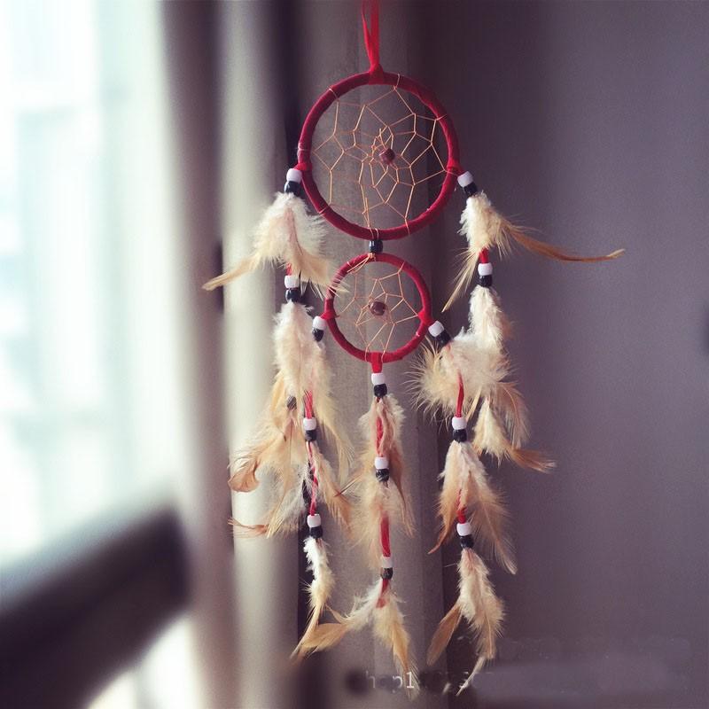 Attrape rêves Artisanal décoratifs plumes décoration intérieur capteur de rêves indien culture amérindiennes idées déco Dreamcatcher Rouge