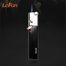 Metal Smoking Pipe Torch Lighter A Portable Windproof Cigar Cigarettes Refillable Gas Lighters NO GAS Flame Lighter(China)