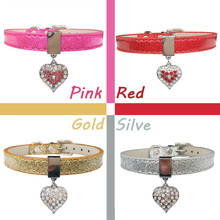 Bling Rhinestone Heart Charm Dog Collar for Cat Small Adjustable Pu Leather Pet Dog Puppy Cat Collar Necklace pet product 4color(China)
