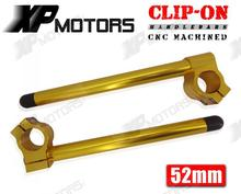52mm Gold CNC Race Clip-On HandlebarsFor Triumph Street Triple 2007 2008 2009 2010(China)