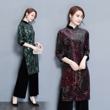 Autumn and winter national costume set velvet cheongsam set two-piece skirt Tops + pants Slim thin woman Pants suit(China)