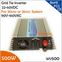 Manuafacturer Big Sale!!! 500W 22-50V DC to AC 90-140V grid tie inverter working for 30V or 36V solar panel or wind turbine(China)