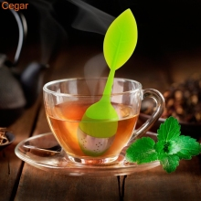 Buy Cegar Green Sweet Leaf Silicone Tea Infuser Reusable Strainer Drop Tray Novelty Tea Ball Herbal Spice Filter Tea Tool for $1.03 in AliExpress store