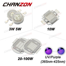 CHANZON UV Purple LED Ultraviolet Chips 365nm 375nm 380nm 385nm 395nm 400nm 3W 5W 10W 20W 30W 50W 100W High Power COB Lights
