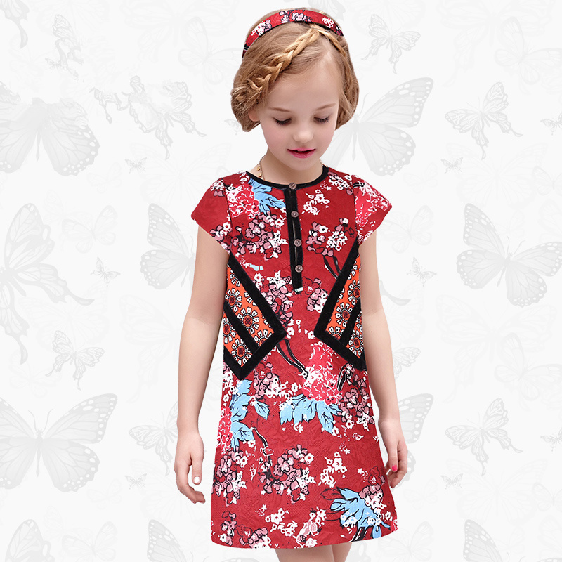 Toddler Girls Dresses Children Clothing 2017 Brand Princess Dress for Girls Clothes Fish Print Kids Beading Dress 1 45<br>