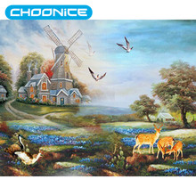 Windmill Cross Stitch Deer Garden Pictures Diamond Painting Grassland Scenery DIY 3D Diamond Embroidery Landscape Paintings