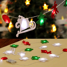 Merry Christmas LED Snowflake Decoration Light 2.7m Always Light 3*AA Battery Power Elk Bell Xmas Christmas Lights Wedding Party(China)