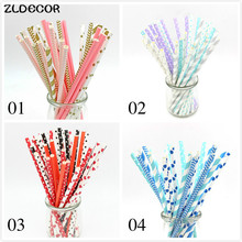 ZLDECOR 25pcs mixed Colors kids birthday wedding decorative party decoration event supplies drinking Paper Straws(China)