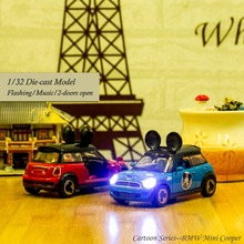 1/32 Scale Pull Back Metal Car Wind Up Model Mini Cooper 2 Doors Open Musical & Flashing Car Toys for Children