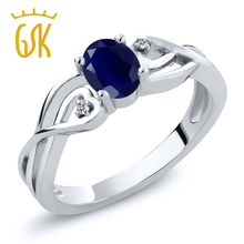 ship from us gem stone king sapphire ring for women 925 sterling silver