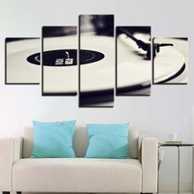 Canvas Wall Art Pictures Framework Home Decor 5 Pieces Phonograph Paintings HD Prints White Music DJ Console Turntables Poster(China)