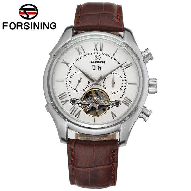 2017 Casual Forsining Watch Mens Day Mult-functional AutoToubillion Mechanism Wristwatch Leather Strap Gift Box Free Ship<br>