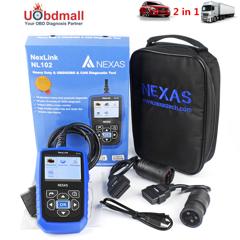 New Universal OBD2 Car Truck Scanner Automotivo 2 in 1 NL102 for Truck Heavy Duty Car Diagnostic Tool with Battery Monitor<br><br>Aliexpress