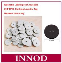 Free shipping 100pcs garment button coin 25mm diameter RFID ID laundry tags High temperature waterproof washing label(China)