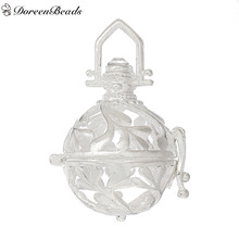 DoreenBeads Round Copper Wish Box Pendants Leaf Carved Hollow Clear Rhinestone Can Open (Fits 16mm Beads) 36mm x 25mm, 2 PCs