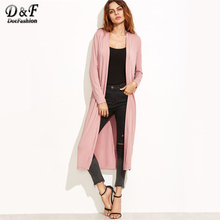Dotfashion Pink Longline Duster Coat Long Sleeve Trench Coat Open Stitch Wide-waisted Autumn Casual Outerwear(China)