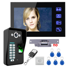 "Touch Key 7"" LCD Fingerprint Recognition Video Door Phone Intercom System kit + Electric Strike Lock+ Remote Control Unlock(China)"
