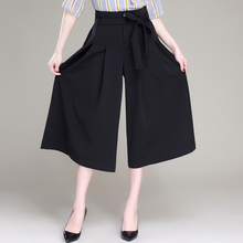 Brand New Fall Spring Wide Leg Pants Black Sexy Ankle-Length Culottes Pants M-XXXXL Plus Size Loose Women Pants With Belt