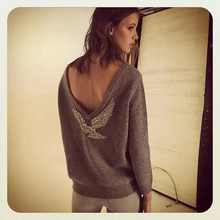 LDZHPS 2017 Autumn Winter Hot SALE Women Pullover Elegant Beaded Eagle Diamond Computer Knitted Casual