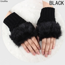 Winter Cute Warm Plush Thick Knitted Warm Gloves Female Plush Fingerless Knitted Wrist Gloves Women Faux Fur Warm Gloves(China)