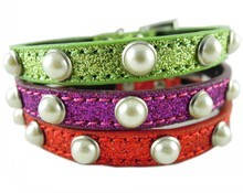 Leather Dog collar Green Purple Red Pearls Decorative Size S M L sparkle small dog collars Wholesale(China)
