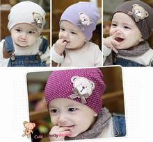 1 Pcs Cute Winter Spring Autumn Crochet Cotton Baby beanie Hat Girls Boys Cap Children Unisex Bear Infant Newborn