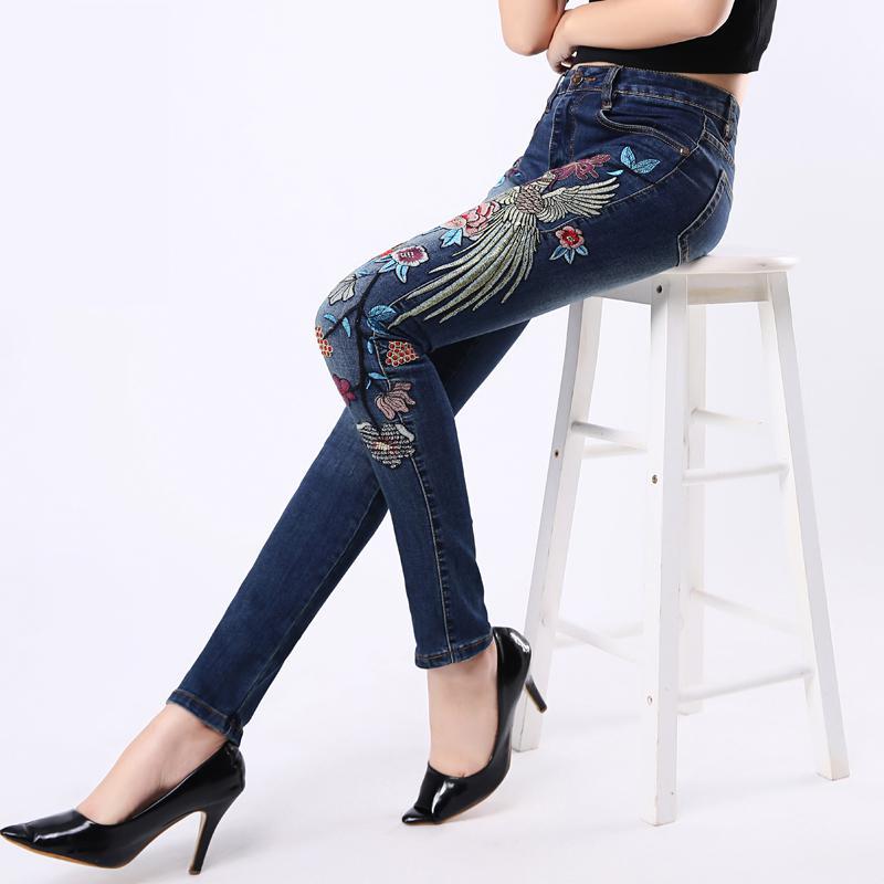 FINEWORDS 2017 High Waist Causal Folk Style Flower Handmade Embroidered Denim Jeans Women Stretch Plus Size Pencil Legging JeansОдежда и ак�е��уары<br><br><br>Aliexpress
