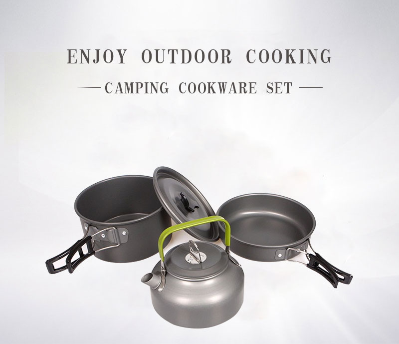 Outdoor Camping Picnic Aluminum Alloy Tableware Cookware Pots Frying Pan Bowl Set For Camping Outdoor Travel High Quality 01