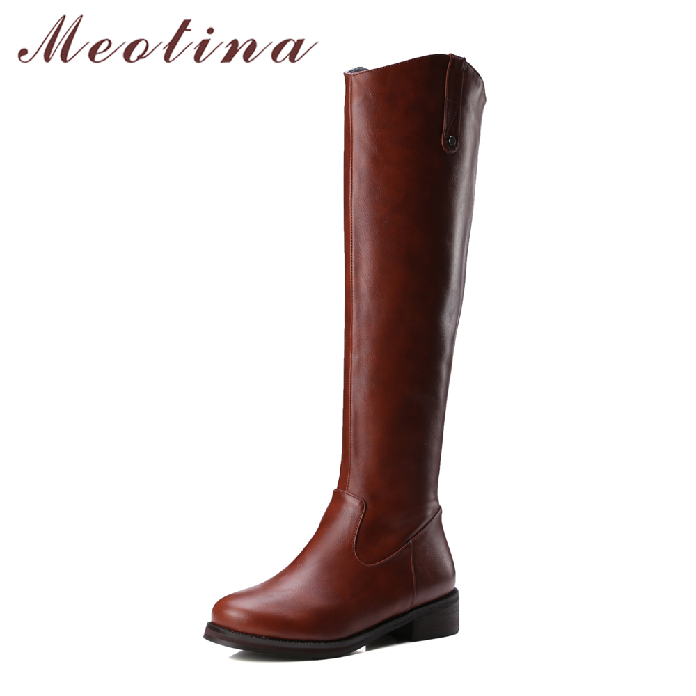 Meotina Women Knee High Western Boots Med Heels Round Toe Riding Boots Zip Winter Boots Ladies Big Size 42 43 Black Botas Mujer <br>