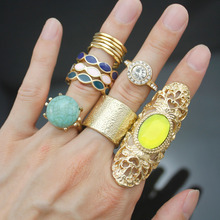 12x Gypsy Gold Tribal Bali Bridal Bezel-Set Stone Crystal Mexico Band Rings Set For Women Anel anillos Men Jewelry Wedding 2017