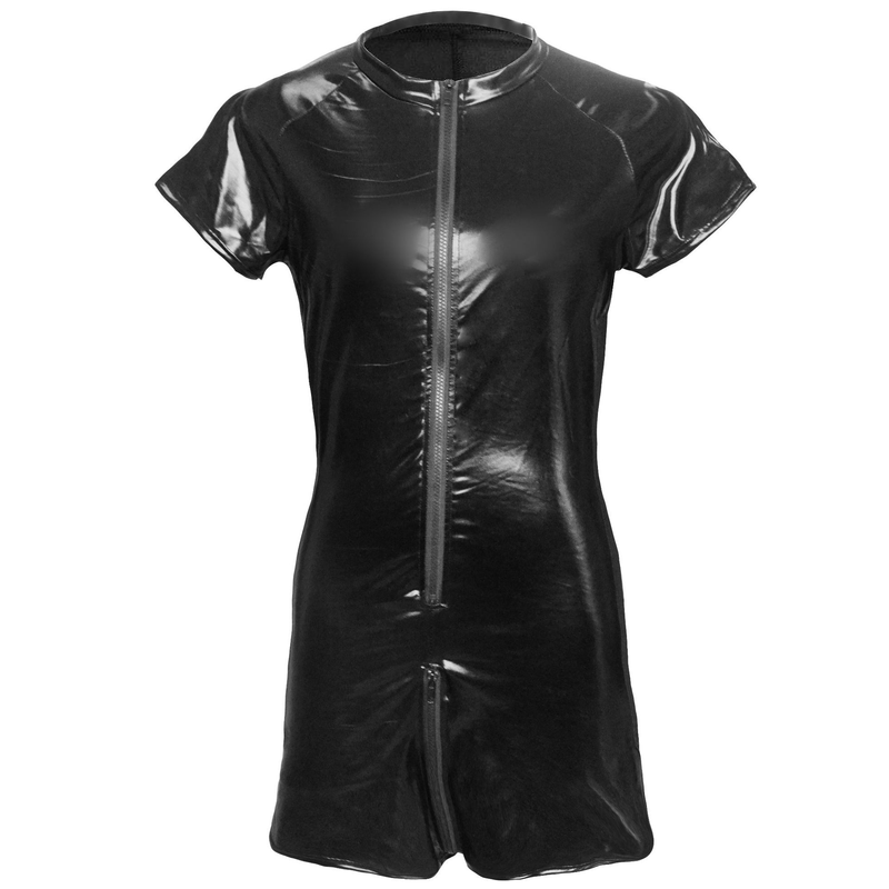 Plus Size S-3XL Male Mesh Leather Bodysuit 2018 Black Open Crotch Zipper Jumpsuit Mens Fetish Latex Clubwear Catsuit Lingerie