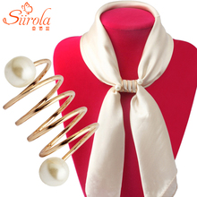 Free shipping Fashion Simple Women Gold-color Brooches Imitation pearl Spiral shape Hijab Shawl Scarves Scarf buckle ring clips