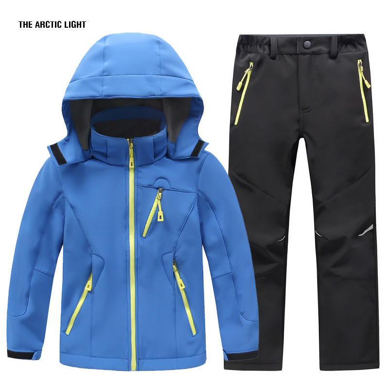 THE ARCTIC LIGHT Winter Waterproof Outdoor Camping Windproof Skiing Hiking Pant Soft Shell Jackets Kids Fleece Sport Wear <br>