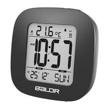 Baldr Mini Digital Alarm Clock Time Temperature Display Calendar Function Travel Clocks Snooze and White Backlight Table Clock