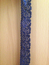 Navy Blue zakka elastic stretchy lace 2.5cm width 20meter/lot french lace rose pattern lace for DIY wedding bridal deco,headband