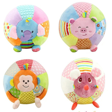 Baby Sound Cloth Toy Animal Ball For Kids Activity Baby Toys Cartoon Pink Pig Monkey Soft Jouet Early Educational Ball WJ370