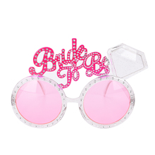 Bachelorette Hen Party Supplies Bride To Be Glasses Pink Bling Diamond Ring Baby Shower Products Bride Sunglasses Eye Decoration(China)