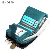 Sendefn New Wallet Women Purse Brand Coin Purse Zipper Wallet Female Short Wallet Women Split Leather Small Purse(China)