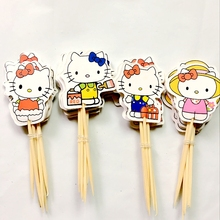 24pcs Lovely Cut Cat Hello Kitty Cartoon Cup Cake Topper Pick Sweet Party Supplies Picks Birthday Wedding Party Decoration