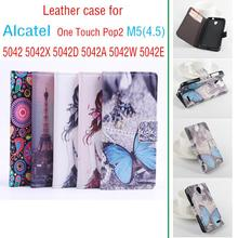 Painted High Quality New Original Alcatel One Touch POP2 M5 (4.5) Leather Case Flip Cover for One Alcatel M5 5042 X D A W D